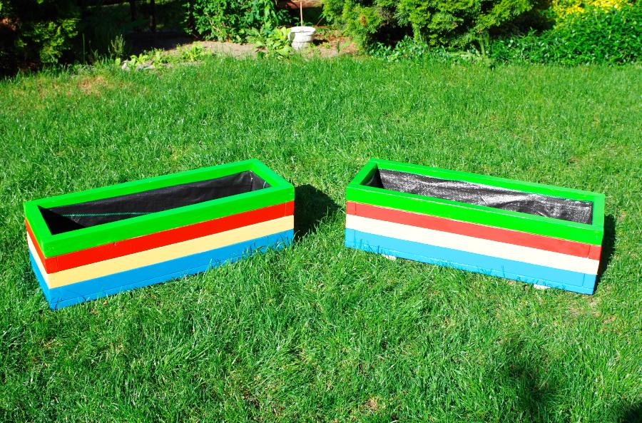 Donice w kolorach tęczy 80 x 40 x 32 cm